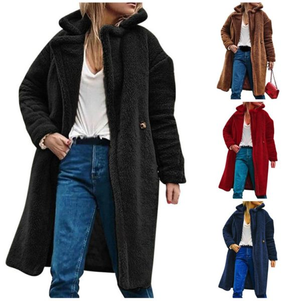2019 women solid winter teddy bear pocket fluffy coat. Black Bedroom Furniture Sets. Home Design Ideas